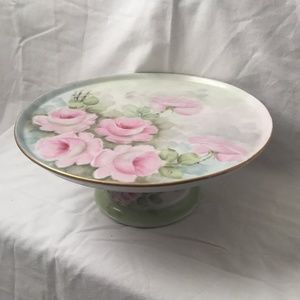 Vintage Hand Painted Floral Botanical Cake Stand
